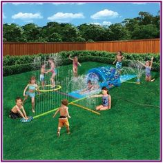 Inflatable Sprinkler Park Kids This Big Portable Kiddie Blow Up Above Ground Long Water slide Is Great For Toddlers, Children, Boys, Girls, Aqua Splash To Have Outdoor Water Fun With All Family. Fun Outdoor Games, Kids Outdoor Play, Outdoor Play Areas, Kids Play Area, Backyard For Kids, Backyard Water Parks, Kids Sprinkler, Inflatable Water Park, Splash Park