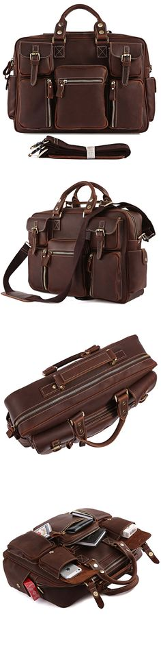 8eefc7b38f Handmade Vintage Crazy Horse Leather Bag Men s Briefcase Laptop Bag Messenger  Bag My Style