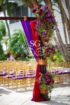 Diplomat Resort & Spa, Fusion Mandap, Red & Purple Garden Mandap, Suhaag Garden, Florida Indian Wedding Decorator, Decoration Vendors, Gujurati Wedding, Outdoor Ceremony, South Indian Wedding, Bamboo Mandap, Tropical Mandap