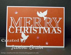 Red and white card using die and a few sequins