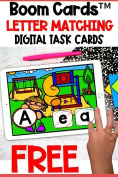 Engage your students and practice alphabet letter matching with these FREE school themed digital task cards! Boom Cards™ are interactive, self-checking digital task cards that make learning fun! Perfect for kindergarten and preschool students.