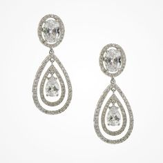 Double caged crystal teardrop earrings   Forsythe earrings   Ivory and Co