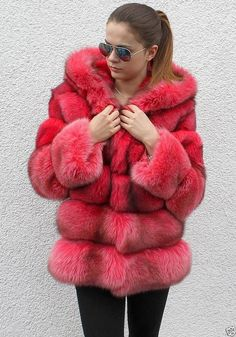 fuscia dyed fox fur parka