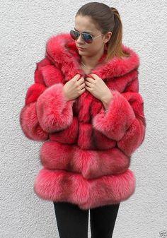 fuscia dyed fox fur parka