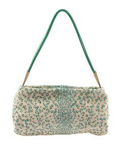 Bottega Veneta Beige & Green Leopard Print Pony Hair Shoulder Bag