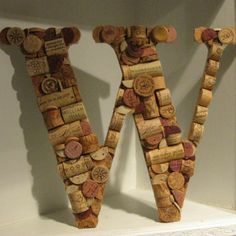 Wine Cork Letter W by MyMamaMaria on Etsy! W for the wino...ME! Such a cute idea, add a little touch of personal to your home!   www.amuseewine.com