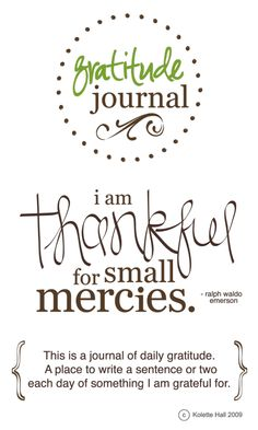Keeping a gratitude journal. Gratitude is magical.  It is powerful.