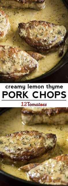 Creamy Lemon Thyme Pork Chops - While we love how creamy this sauce is, it's the balance of flavors that we really can't get enough of! Pork Chop Recipes, Meat Recipes, Cooking Recipes, Healthy Recipes, Syrian Recipes, Recipies, Pork Lion Chops Recipes, Pork Chop Meals, 12 Tomatoes Recipes