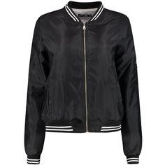Boohoo Tall Flora Sports Rib Bomber Jacket | Boohoo ($35) ❤ liked on Polyvore featuring outerwear, jackets, ribbed jacket, puffa jacket, wrap jacket, blouson jacket and bomber jacket