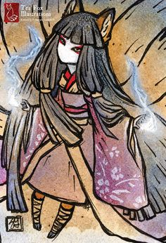 Okina's Foxfire / Fox Girl Japanese Spirit by TeaFoxIllustrations, $3.50