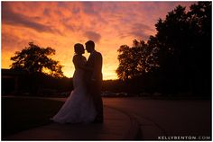 Gorgeous sunset silhouette! | Christy & Kevin at Swan Lake Resort :: Plymouth Indiana Wedding Photography by Kelly Benton | www.kellybenton.com