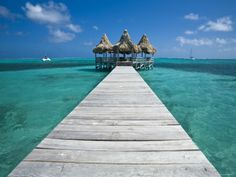 Belize, Ambergris Caye, San Pedro, Ramons Village Resort Pier and Palapa