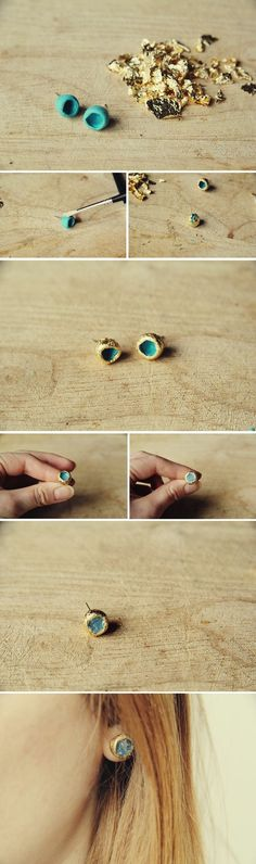 ake these faux raw Gold and Glass earrings from polymer clay