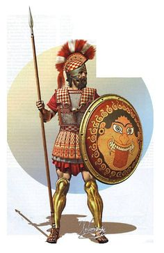 Athenian Officer (5th century BC) - Athenian helmet with chequered crest and horse hair plume  - Leather, bronze and linen cuirass - Hoplon shield with Gorgo - Bronze greaves - Phalanx spear - Short broad sword  Drawing by C.Giannopoulos for Periskopio Editions