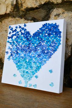Blue Ombre Butterfly Heart/ 3D Butterfly Wall Art/ by RonandNoy