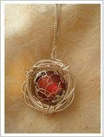 DIY bird's nest pendant