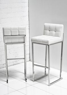 27 Awesome white leather bar stools with backs images White Leather Bar Stools, White Bar Stools, Modern Bar Stools, Iron Furniture, Home Furniture, Home Decor Kitchen, Home Decor Bedroom, Adjustable Bar Stools, Bar Chairs