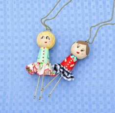 DIY Wooden Doll Necklaces - what a cute gift idea