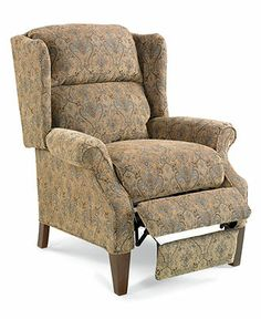Hillsboro Recliner Chair, Queen Anne Style Wing - furniture - Macy's (Color shown is Cocoa, also comes in other colors including Spice and Berry)