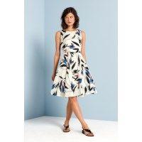 A-lijn jurk met bladprint Offwhite