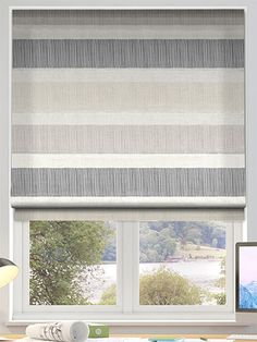 Cardigan Stripe Stone Roman Blind from Blinds 2go
