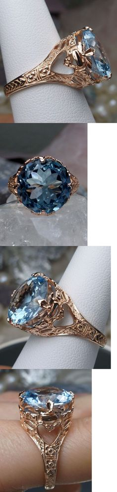 Rings 52603: Blue Topaz Sterling Silver And Rose Gold Victorian Filigree Ring (Made To Order) BUY IT NOW ONLY: $96.0