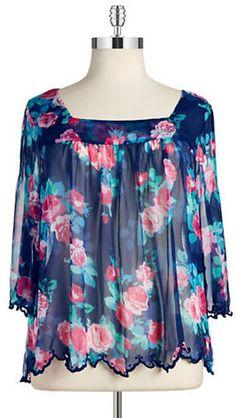 Plus Size Floral Peasant Top