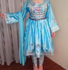 #Afghani #style #dress #blue