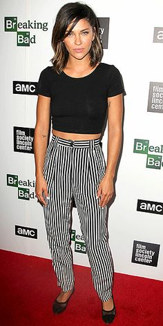 JESSICA SZOHR The newest member of the striped bottoms brigade pairs her jailbird-print trousers with an equally bold midriff-baring top at the Breaking Bad final season premiere party in N.Y.C.