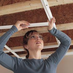 CeilingMAX 0.08 ft. x 8 ft. Ceiling Grid Kit PVC Ceiling Tile & Reviews | Wayfair Pvc Ceiling Tiles, Ceiling Grid, Open Ceiling, Dropped Ceiling, Ceiling Panels, Framing Basement Walls, Basement Ceiling Options, Basement Ideas, Basement Remodeling