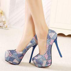 Shoespie Color Contrast Round-toe Platform Heels