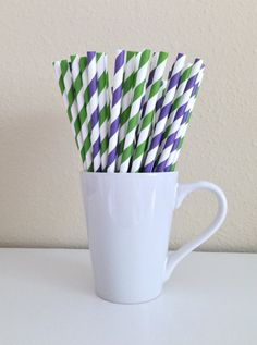 Paper Straws  25 Purple and Green and White by PuppyCatCrafts, $3.60