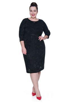 Cienka czarna sukienka z drobinkami - Modne Duże Rozmiary