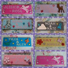 This Handmade Children's Bedroom Door Plaque can be personalised with any Name or two Names of your choice. The sign is made out of MDF. The Title is made from cardboard letters and . Bedroom Door Signs, Bedroom Doors, Painted Name Signs, Cardboard Letters, Unusual Presents, Personalised Cushions, Personalized Gifts For Kids, Name Plaques, Inspirational Gifts