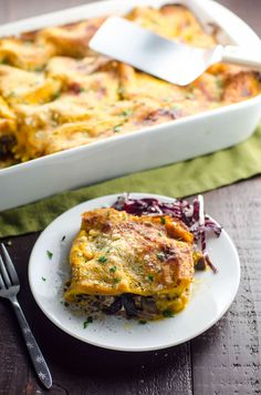 Make your vegetarian holiday guests feel loved with this Kabocha Squash Lasagna with a savory mushroom and radicchio filling. It's oh-so satisfying.