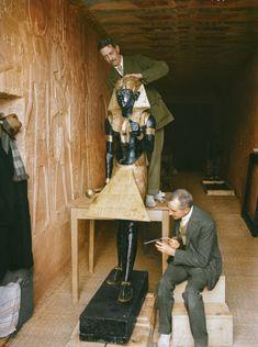 Colorized photo of the discovery of Tutankhamun's tomb, circa 1920s. Original B/W photo by Harry Burton.
