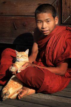 Buddhist monk & cat