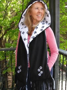Paw Print Hooded Scarf with Pockets  Black and White by batgirl93, $40.00