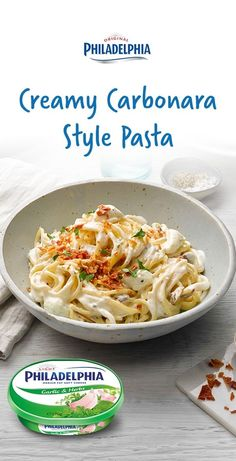 Tastes amazing and is ready in no time! Find the full recipe here: http://www.telegraph.co.uk/food-and-drink/philadelphia-recipes/creamy-spaghetti-carbonara/