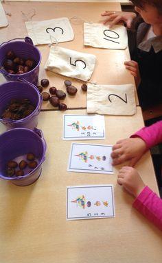 Rekenhoek herfst '14 Maths Eyfs, Math Activities For Kids, Preschool Centers, Fall Preschool, Montessori Activities, Math For Kids, Autumn Activities, Fun Math, Year 1 Maths
