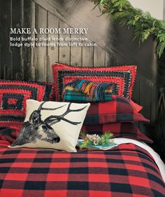 Check out Pendleton for hunting lodge throw pillows, rugs and lighting. Obssessed with Pendleton, and masculine wood interiors.