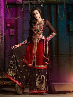 Brown designer Indian Pakistani palazzo kameez suit in georgette