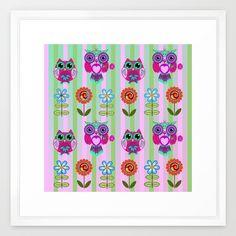 Fantasy summer flowers and owls on a striped background, pattern design Framed Art Print
