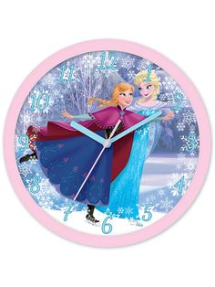 Disney Frozen Wall Clock - Kids BedroomAdd the finishing touch to any Frozen themed bedroom with this official wall clock. The clock face features a fantastic images of Anna and Elsa ice skating. The large numbers and hands on the clock also make it ideal for helping with time teaching and routine setting.