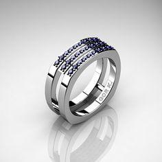 Mens Modern Classic 14K White Gold Blue Sapphire Cluster Formal Ring G1004-14KWGBS by DesignMasters on Etsy https://www.etsy.com/listing/285743877/mens-modern-classic-14k-white-gold-blue