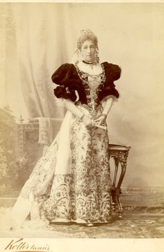 Dowager Crown princess Stephanie of Austria in a traditional Hungarian court gown. Mids 1890s.