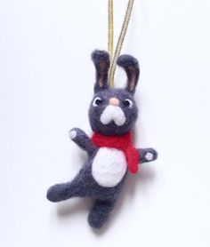 Toby the Bunny Needle Felted Christmas Hanging by HappyFeltx
