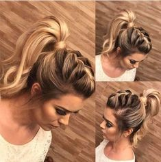Cute Ponytail Hairstyles for Beautiful Women There are many choices of ponytail hairstyles that can be tried to enhance your appearance. From cute ponytails to high or low ponytail hairstyles, they can look messy, elegant and smooth. Add a fe… High Ponytail Braid, Cute Ponytails, Mohawk Braid, High Ponytails, Cute Updos Easy, Fancy Ponytail, Voluminous Ponytail, Ponytail Ideas, Top Braid