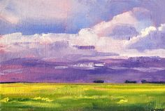 Original Landscape Oil Painting Prairie Sky by smallimpressions