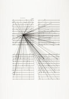 Marco Fusinato  Mass Black Implosion (de Kooning, Morton Feldman)  2012  Ink on archival facsimile of score  2 parts, 88 x 70 cm each (framed)  Courtesy the artist and Anna Schwartz Gallery